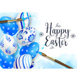 hand painted blue easter eggs vector image
