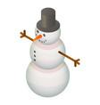 happy snowman icon isometric style vector image