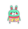 lovely funny bunny colorful cloth patch applique vector image vector image