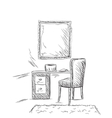 Make up Vanity table and folding chair sketch vector image
