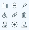 medicine icons line style set with medic vector image