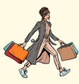 modern woman with shopping bags vector image vector image