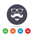mustache and glasses sign icon hipster symbol vector image