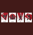 ninja characters warrior with swords cards vector image