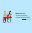 parents and child web poster help doing homework vector image