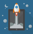 Rocket launching from tablet vector image vector image