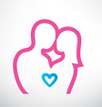 romantic couple in love outlined symbol vector image vector image