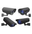 security camera set black cctv surveillance vector image vector image
