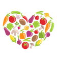 Set Colorful Vegetables in Heart Shape vector image vector image