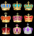set crowns with precious stones vector image vector image
