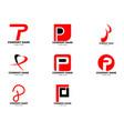 set initial letter p logo template design vector image vector image
