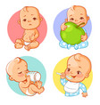set of baby stickers emoji vector image vector image