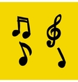 Set of Hand-drawn music notes on yellow vector image vector image