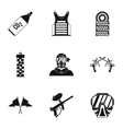 Shooting paintball icons set simple style vector image