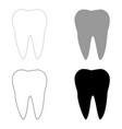 tooth the black and grey color set icon vector image vector image