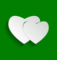 two hearts sign paper whitish icon with vector image vector image