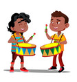 two little afro american boys beating the drums vector image vector image