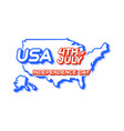 usa 4th july independence day with map and vector image vector image