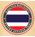 Vintage label cards of Thailand flag vector image vector image