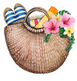 watercolor beach bag with flowers sun screen vector image