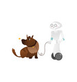 wheeled robot assistant walking the dog on a leash vector image vector image