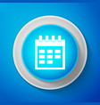 white calendar icon isolated on blue background vector image vector image