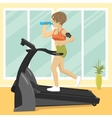 woman at gym doing exercise on treadmill vector image