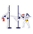 young sexy girls pole dancers workout and vector image