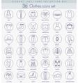 Clothes outline icon set Elegant thin line vector image