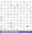 100 space tech icons set outline style vector image vector image