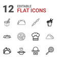 12 cuisine icons vector image vector image