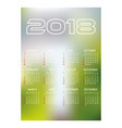 2018 simple business wall calendar abstract blur vector image