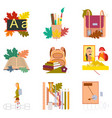 assembly flat icons the first of september vector image vector image