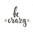 Be Crazy Hand drawn typography poster vector image vector image