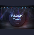 black friday sale banner on disco black background vector image vector image