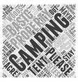 camping sites Word Cloud Concept vector image vector image