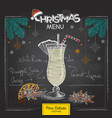 chalk drawing christmas cocktail menu design vector image vector image