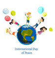 children celebrate world peace day vector image vector image