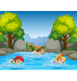 children swimming in nature vector image