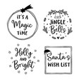 christmas and new year lettering set hand vector image