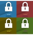 Color set padlock Flat modern web button with long vector image vector image