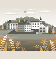 countryside landscape country motif with farm vector image vector image