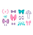 cute bow cartoon doodle ribbons for birthday vector image