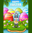 easter bunny carrying easter nest eggs in the wood vector image