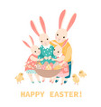 easter greeting card with a happy bunnies vector image