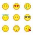 Emoji icons set cartoon style vector image vector image