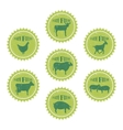 Farm animals labels templates of butchery shop vector image