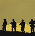 Four soldiers on a background a sun vector image vector image