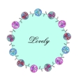 frame with pink blue flowers of watercolor vector image vector image