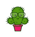 funny cute smiling smart cactus vector image vector image